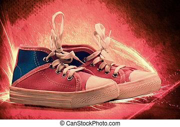 tela, scarpe, fuoco