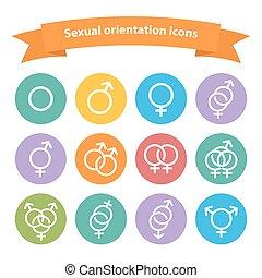 tela, señal, blanco, vector, sexual, orientación, iconos, ...