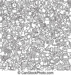 tela, seamless, patrón, en, negro y blanco