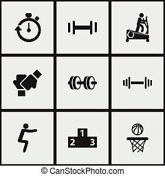 tela, ser, entrenamiento, conjunto, cronómetro, móvil, icons...