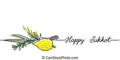 tela, simple, línea, brunches, continuo, sukkot, dibujo, verde, texto, background.one, bandera, feliz, limón