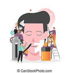 tela, sitio web, vector, barbería, página, concepto, bandera