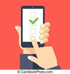 tela, smartphone, checkboxes