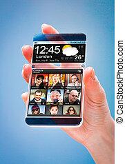 tela, smartphone, hands., transparente, human