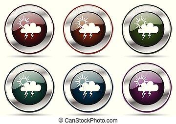 tela, smartphone, iconos, cromo, set., metálico, aplicaciones, vector, diseño, tormenta, frontera, plata, icono