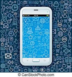 tela, smartphone, pattern., iconos