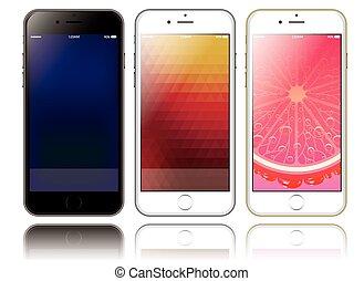 tela, smartphones, mockup, dos, presentaciones, diseño