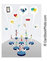 tela, social, establecimiento de una red, interactivo