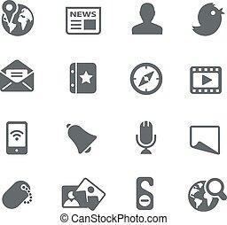 tela, social, iconos