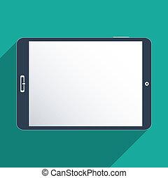 tela, tabuleta, em branco