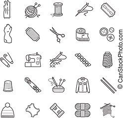 tela, tejido de punto, contorno, iconos, -, costura, costura