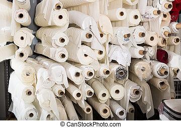 tela, textil, tienda, rollos