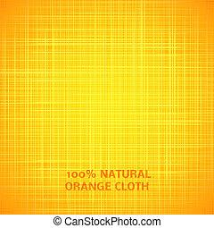 tela, textura, fondo., vector, ilustración, naranja