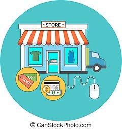 tela, tienda, tienda en línea, concept., plano, design.