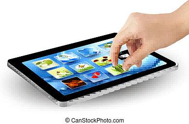 tela, tocar, dedos, touchpad
