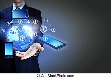 tela toque, computador, dispositivo