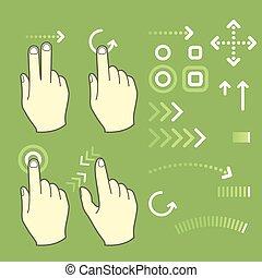 tela toque, gesto, sinais mão