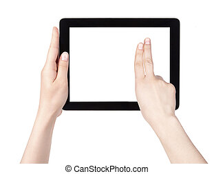 tela toque, tabuleta, computador, com, mão