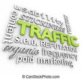 tela, tráfico, collage, sitio web, visitantes, en línea, reputación, 3d, palabra