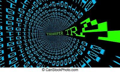 tela, transferencia, datos, túnel