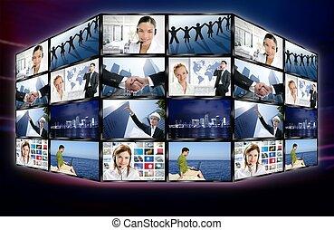 tela tv, parede, vídeo, digital, notícia, futurista
