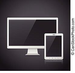 tela tv, tabuleta, em branco