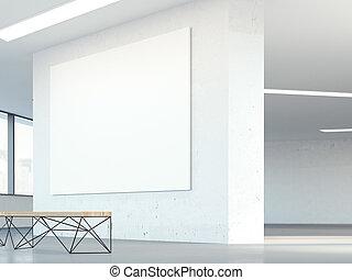 tela, ufficio, wall., interpretazione, vuoto, 3d