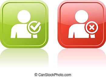 tela, usuario, botón