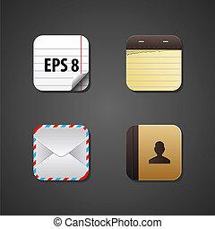 tela, vector, apps, icono