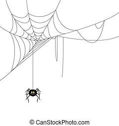 tela, vector, araña