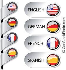 tela, vector, indicador, idioma