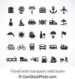tela, viaje, transporte, iconos