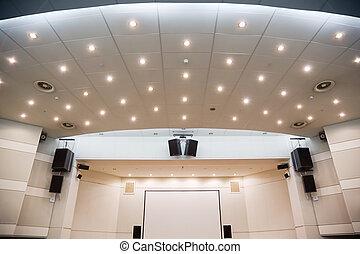 tela videa, e, um, audiosystem, para, ver, de, apresentações