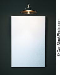 tela, vuoto, interpretazione, dark., bianco, 3d