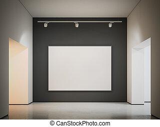 tela, wall., interpretazione, nero, bianco, 3d