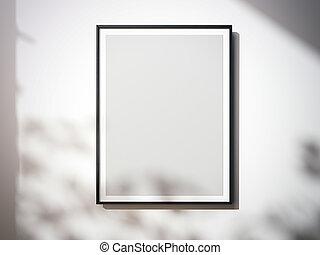 tela, wall., interpretazione, vuoto, bianco, 3d