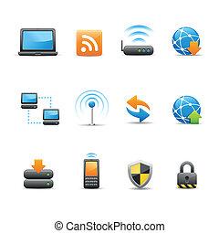 tela, y, iconos del internet