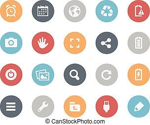 tela, y, móvil, iconos, 3, --, clásico
