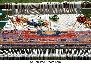 telar, tejer, alfombra