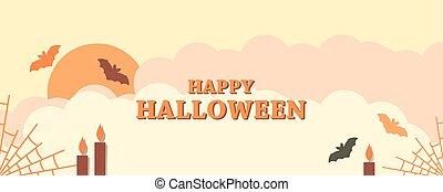 telarañas, ilustración, nubes, halloween, otoño, saludo, 31st., palette., murciélagos, tarjeta, octubre, lights., color feliz, festivo, vector, paisaje