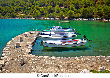 Telascica bay on Dugi Otok island boats in harbor, Dalmatia, Croatia