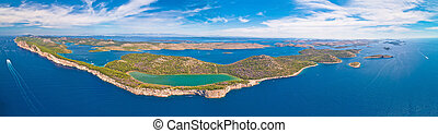Telascica nature park and green Mir lake on Dugi Otok island aerial panoramic view, Kornati archipelago national park of Croatia
