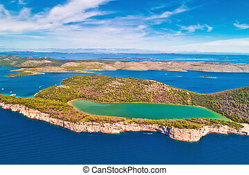 Telascica nature park and green Mir lake on Dugi Otok island aerial view, Kornati archipelago national park of Croatia