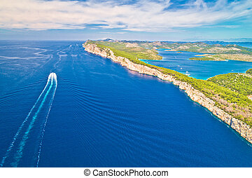 Telascica nature park cliffs and Dugi Otok island aerial view, Kornati archipelago national park of Croatia