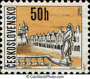 Telc - CZECHOSLOVAKIA - CIRCA 1966: A stamp printed in...