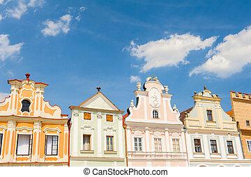 Telc - Vivid Renaissance houses in Telc, Czech Republic -...