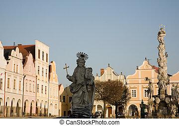 Telc - UNESCO heritage - Facade of city houses with arcade ...