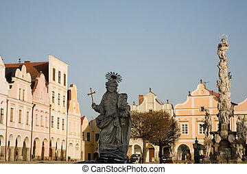 Telc - UNESCO heritage - Facade of city houses with arcade...