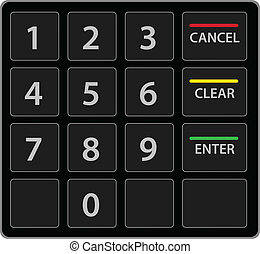 telclado numérico, atm, aislado, vector, white., version.
