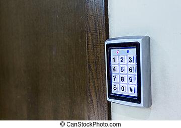 telclado numérico, entrada, acceso